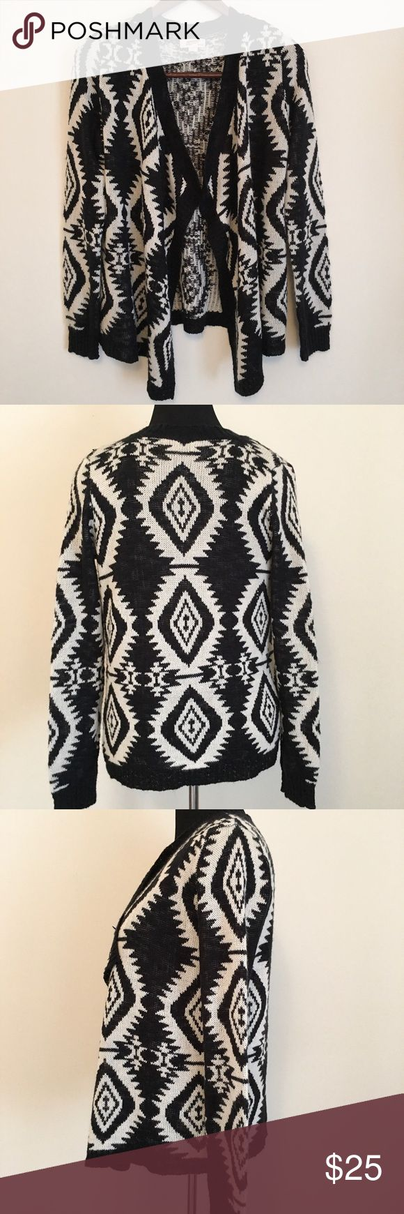 3 for $25Black & White L (Juniors) Cardigan Black and White L (Juniors) Aztec Print Sweater Cardigan  Black and white size large (juniors) Aztec print open front sweater cardigan.   100% Acrylic  In good, gently used condition  #E1 Arizona Jean Company Sweaters Cardigans