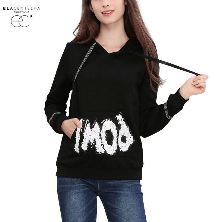 ElaCentelha Women Hoodies 2016 New Letter Print Long Sleeve Hooded Sweatshirts Autumn&Spring Female Clothing Fleece Warm Tops