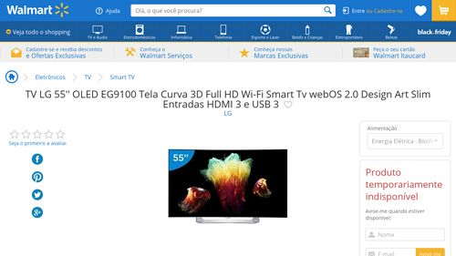 [Wal-Mart] TV LG 55 ´ ´ OLED EG9100 Tela Curva 3D Full HD Wi - Fi Smart Tv webOS 2.0 Design Art Slim Entradas HDMI 3 e USB 3 3547360 por R$…