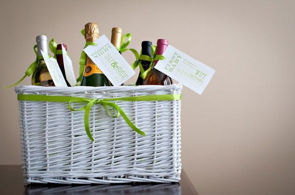 wine basket wedding gift - different bottles of wine for special occasions throughout the marriage - cute!