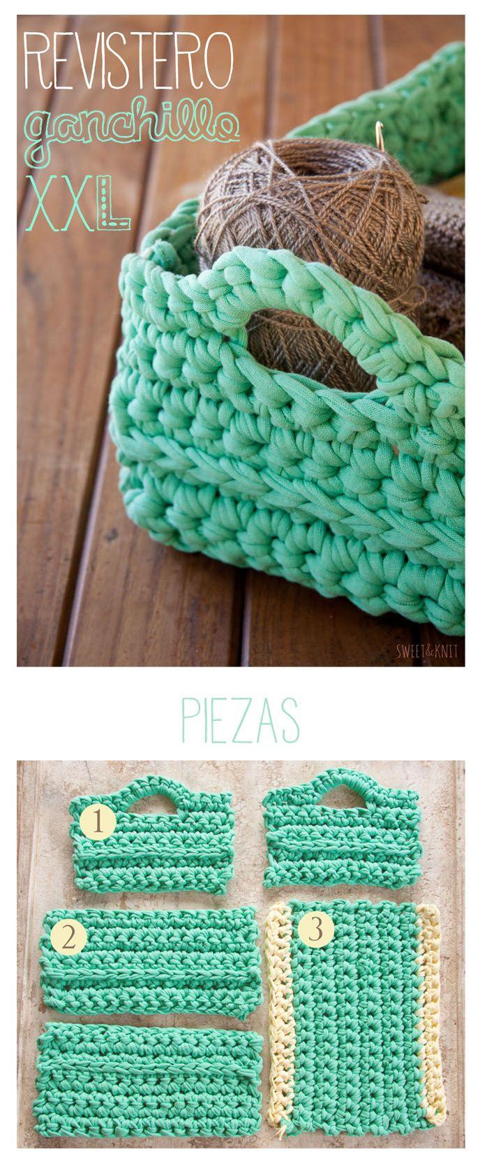 Tutorial Crochet Xxl : Crochet XXL square basket - free pattern (spa) #tshirtyarn #trapillo # ...