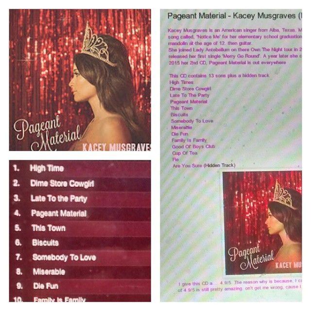 Check out my review on Kacey Musgraves's CD http://iheartcelebrities519.blogspot.ca/2015/06/pageant-material-kacey-musgraves-music.html