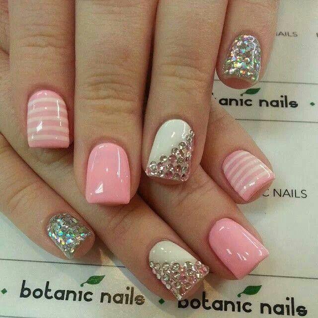 Pink & white rhinestone nails