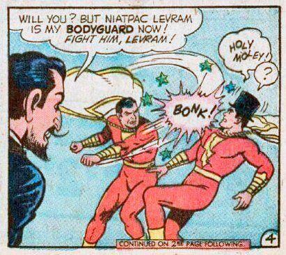Shazam/Captain Marvel versus his evil double, Niatpac Levram. #shazam #comics #double #doppelganger #rivalry #fight #dccomics