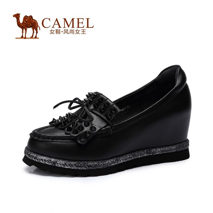 93.50$  Watch now - http://alio9f.worldwells.pw/go.php?t=32442644111 - CAMEL Women High Heel  2015 New Fashion Rivet  Women Shoes Platform Increased within  Ladies Shoes  Heels Women Wedge  A53003609 93.50$