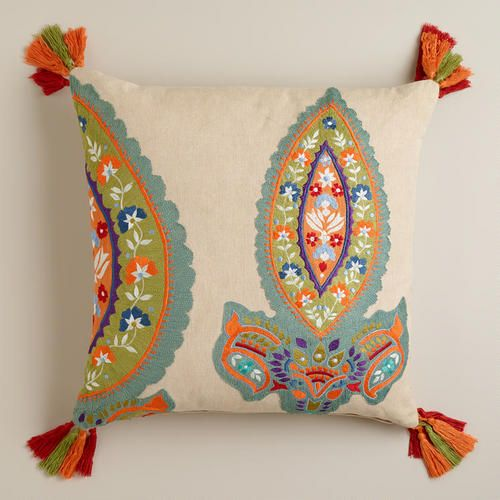 One of my favorite discoveries at WorldMarket.com: Paisley Embroidered Tassel Throw Pillow
