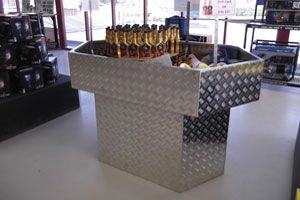 Custom alumimium bargain bin for local shop made by Complete Weld in Mudgee, NSW, Australia.