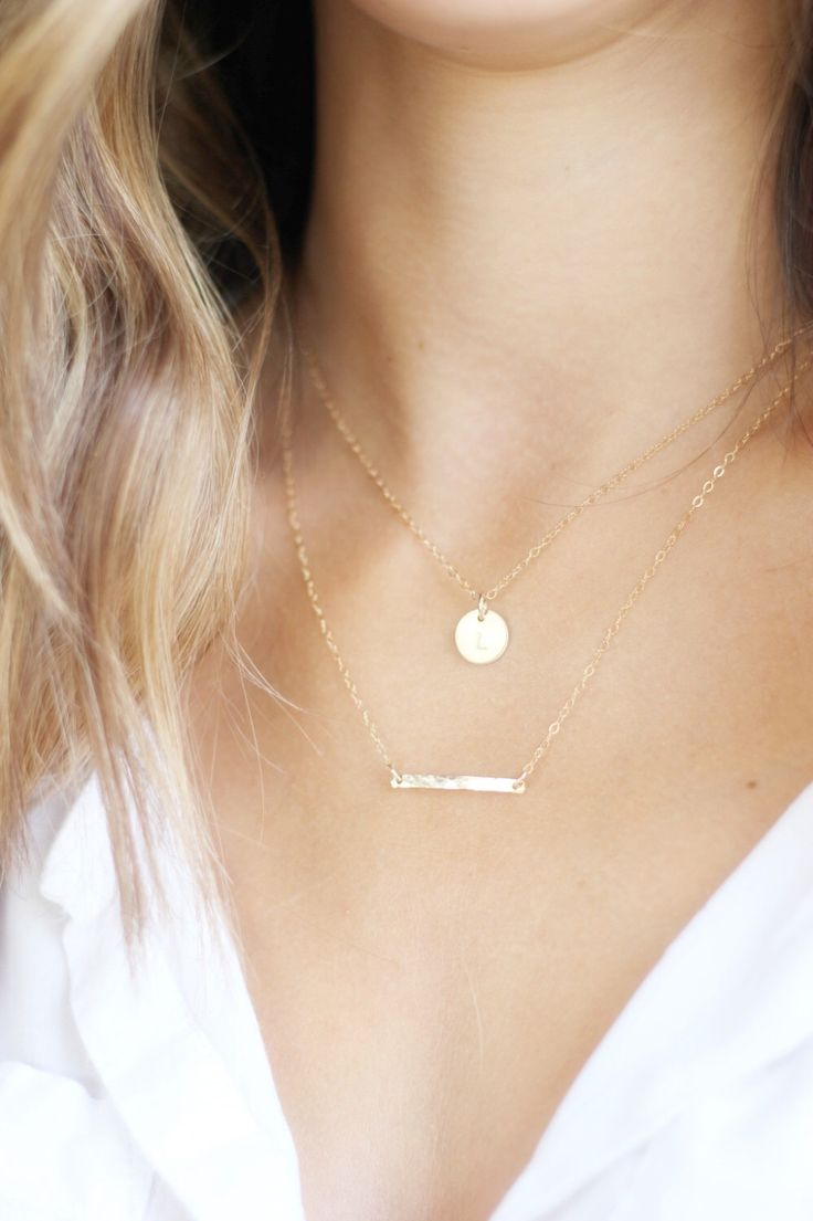 Gold Necklace, Double Strand Initial Necklace, Silver or Gold Layered Necklace, Layered Necklace set of 2, Personalized Necklace, Gold Bar by TheSilverWren on Etsy https://www.etsy.com/listing/253403541/gold-necklace-double-strand-initial
