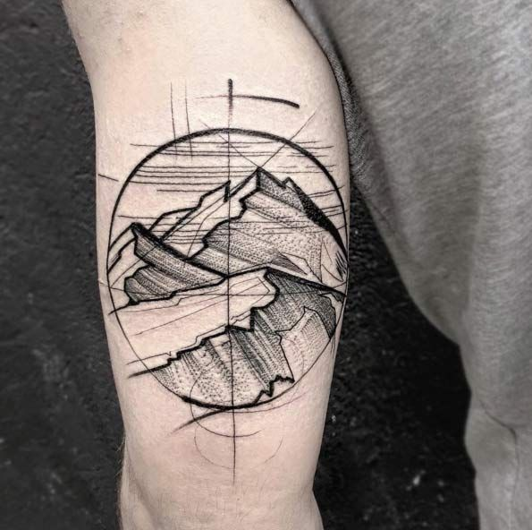 Sketch Style Mountain Tattoo by Frank Carriilho