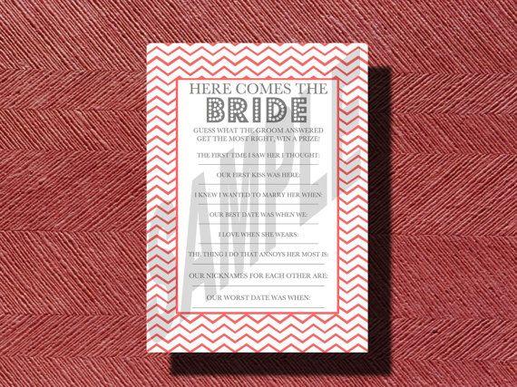 #BridalShower #Game Here Comes the Bride What by WeddingsByJamie, $12.00