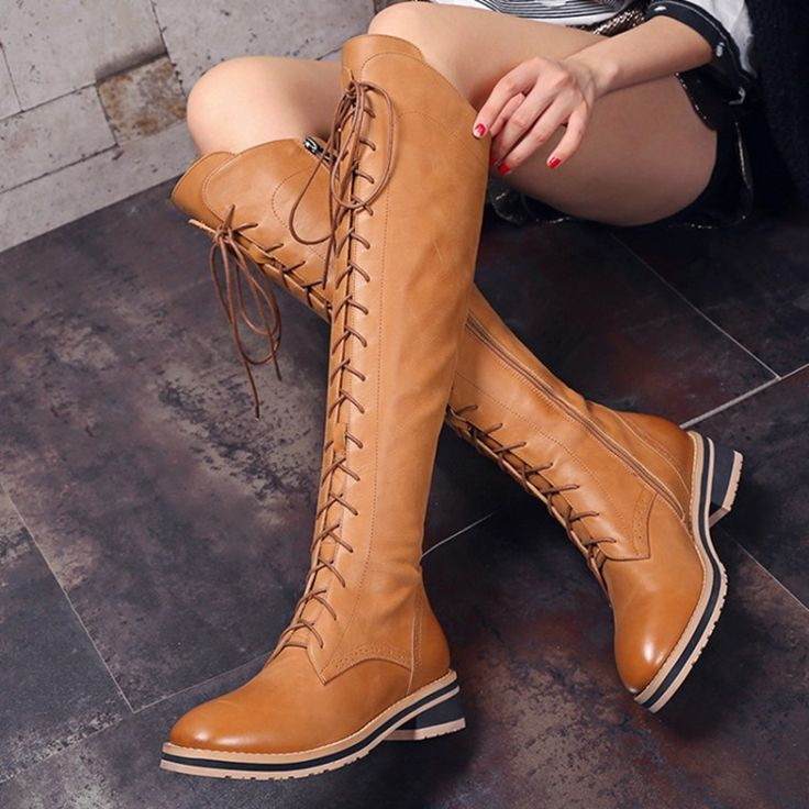 2016 Winter new wool plus natural leather high heel knee-high boots code wellingtons lace-up Martin boots women flat shoes