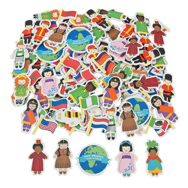 Kids Around The World Foam Shapes - OrientalTrading.com  $8.25 per 500 pieces