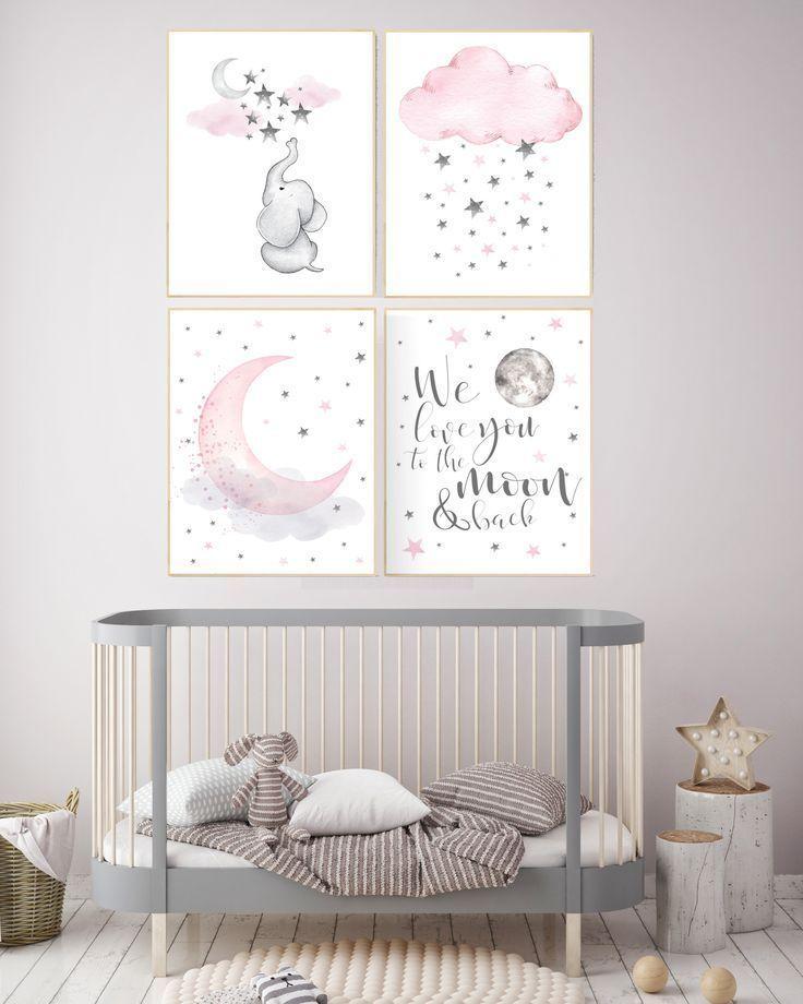Rosa grau Kinderzimmer Kunst, Kinderzimmer Dekor Elefant, Kinderzimmer Dekor Mädchen Wolke, wir lieben …  #dekor #elefant #kinderzimmer #kunst