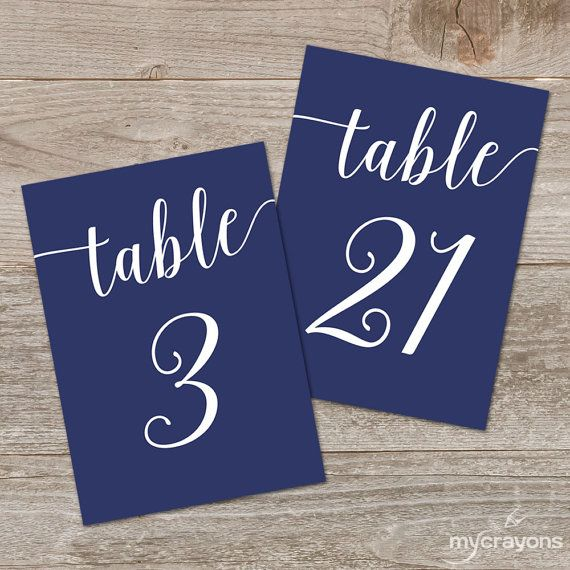 Navy Table Numbers Printable by MyCrayonsDesign, includes table numbers 1-30 in both 4x6 and 5x7 inch sizes.