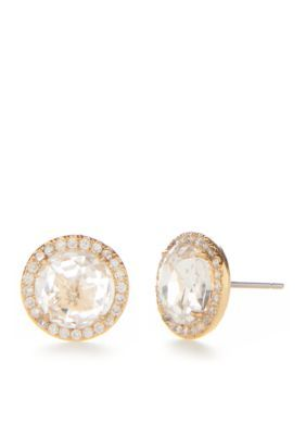 Kate Spade New York Women Rose Gold-Tone Glitz And Glam Pave Halo Stud Earrings - Clear - One Size