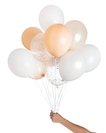 "These make our eyes go all dreamy with soft whites and blush, shimmery peach and confetti-filled balloons with coordinating colors, plus our shiny copper confetti! • Includes 12 balloons - 11"" latex b"