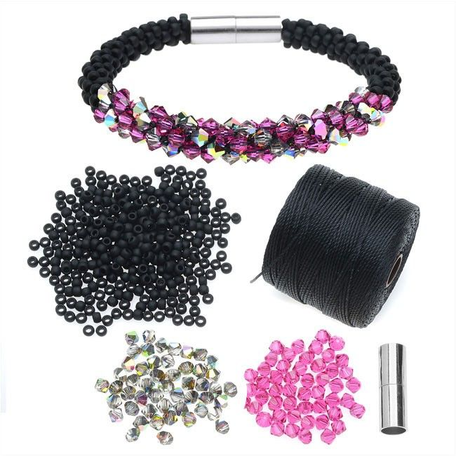 Try new color variations or simply make more of your favorite designs with our kumihimo refill kits. Perfect for kumi braiders with a little more experience or those who have already made an Exclusive Beadaholique Kumihimo Kit, this refill kit contains all you need to create the Deluxe Beaded Kumihimo Bracelet-Pink/Black, without the added bulk of an additional disk, bobbins and glue.This refill kit includes: Free access to online video instructionsYou will use the following techniques: ...