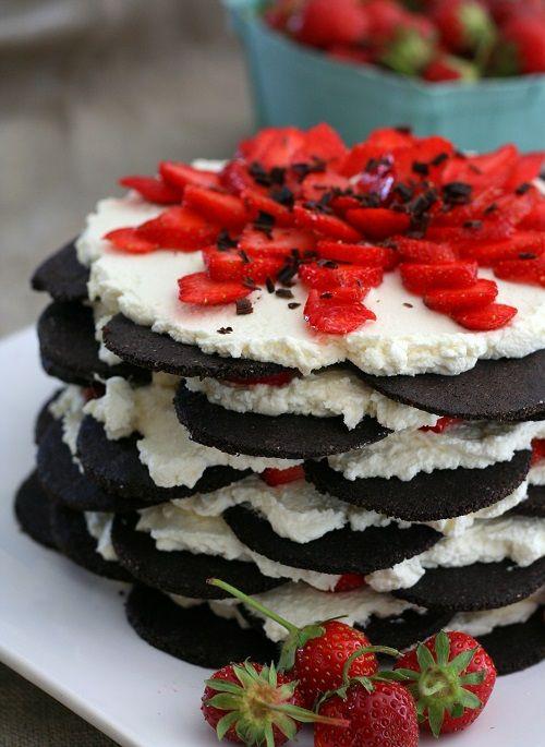 Strawberry Icebox Cake with Chocolate Wafers