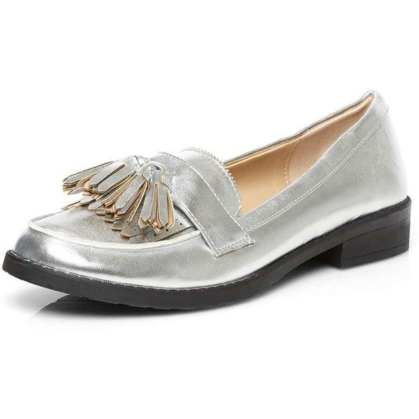 Dorothy Perkins Silver 'Loki' Chunky Loafers (2.535 RUB) ❤ liked on Polyvore featuring shoes, loafers, silver, tassle loafers, tassel loafer shoes, silver shoes, dorothy perkins and chunky loafers