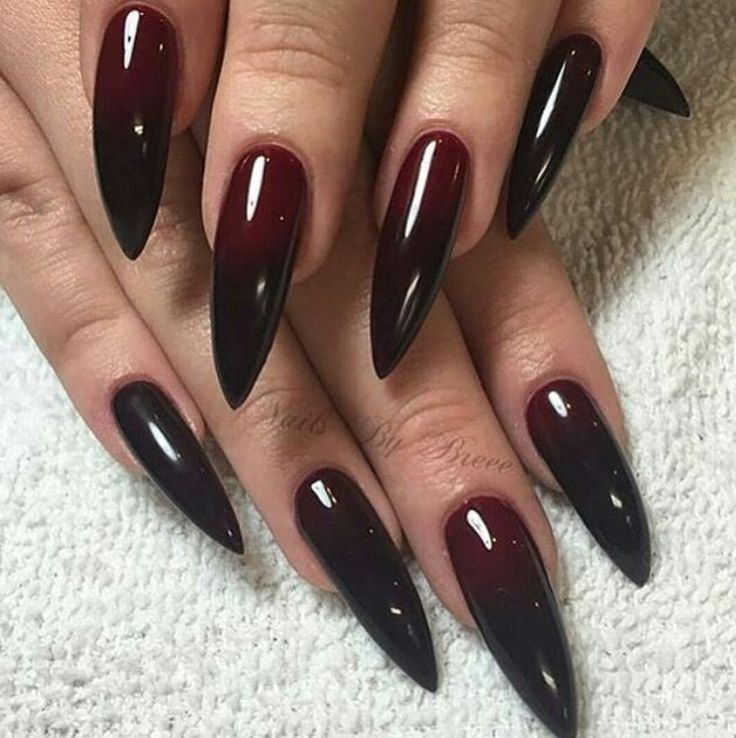 Red And Dark Vamp Ombr 233 Nails In 2019 Black Stiletto Nails Gothic Nails Stiletto Nails
