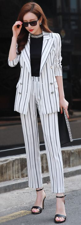StyleOnme_Pinstripe Ankle Length Pants #chic #spring #pinstripe #suit #pants #koreanfashion #kstyle #kfashion #seoul