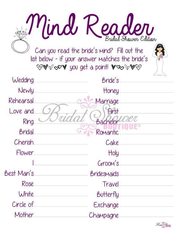Mind Reader What Is The Bride Thinking Bridal Shower Plum Fun