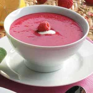 Cold Raspberry Soup or we could do blueberry since it's a boy. Served in tall, plastic shot glasses.