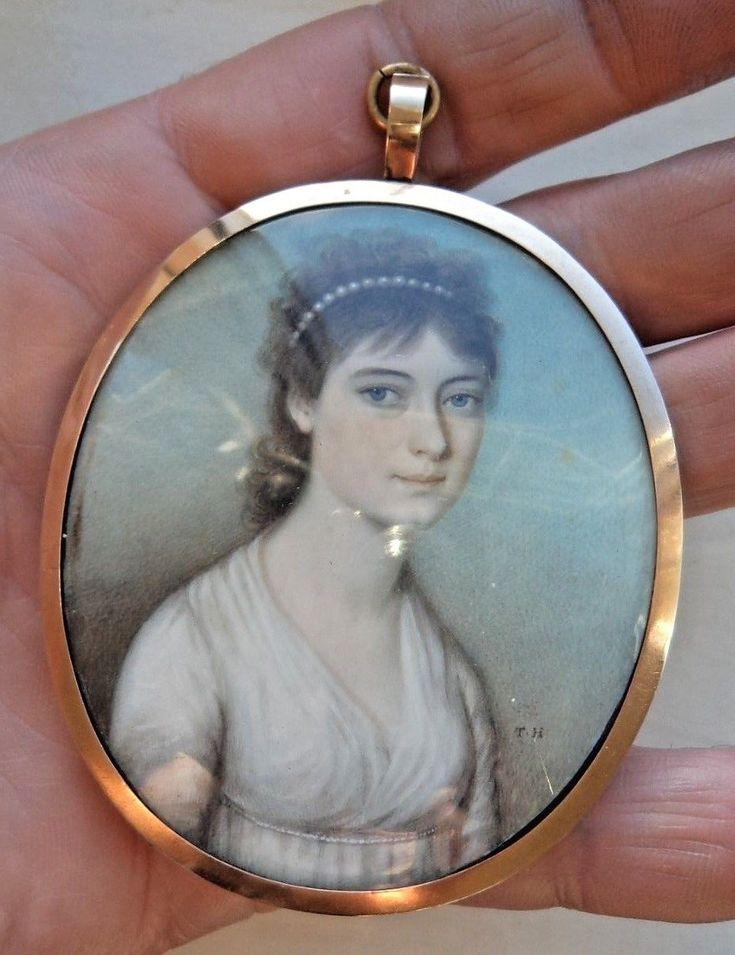 GEORGIAN c1800 PORTRAIT MINIATURE BEAUTIFUL LADY BY THOMAS HALZEHURST | eBay