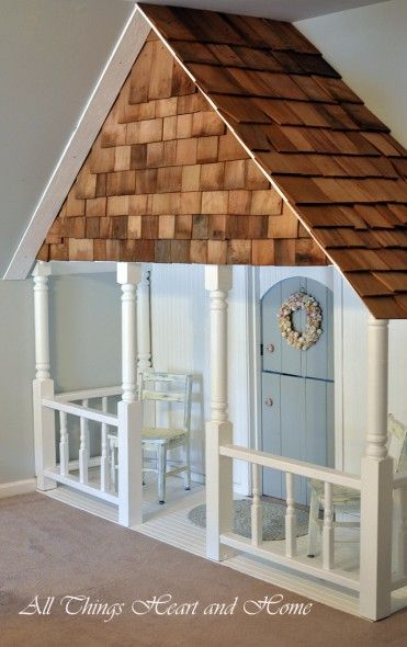 DIY Indoor Closet Playhouse! This would be so cute for my kids playroom under the stairs. Just make it 3-4 inches wide with the columns coming down. Love it!