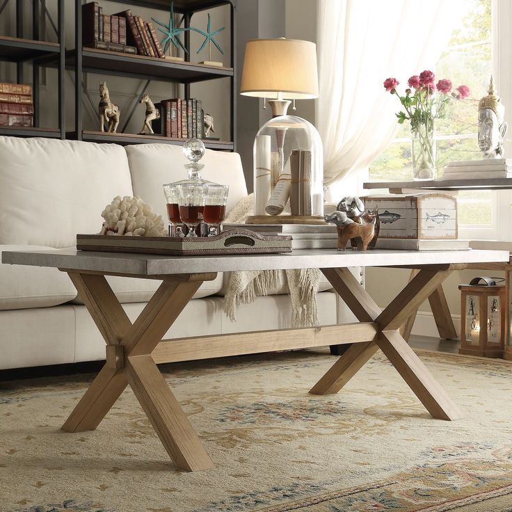 Signal Hills Aberdeen Industrial Zinc Top Weathered Oak Trestle Coffee Table (Coffee Table), Brown