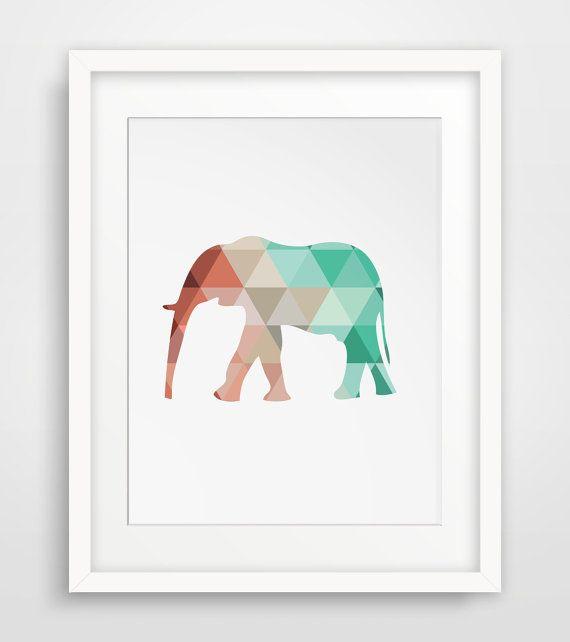 Mint and Coral Elephant, Mint Elephant Print, Coral Elephant Print, Mint Wall Art, Coral Wall Print, Geometric Elephant Print, Coral & Mint