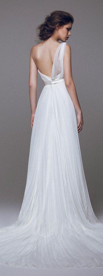 blumarine 2015 bridal one shoulder pleated wedding dress back view