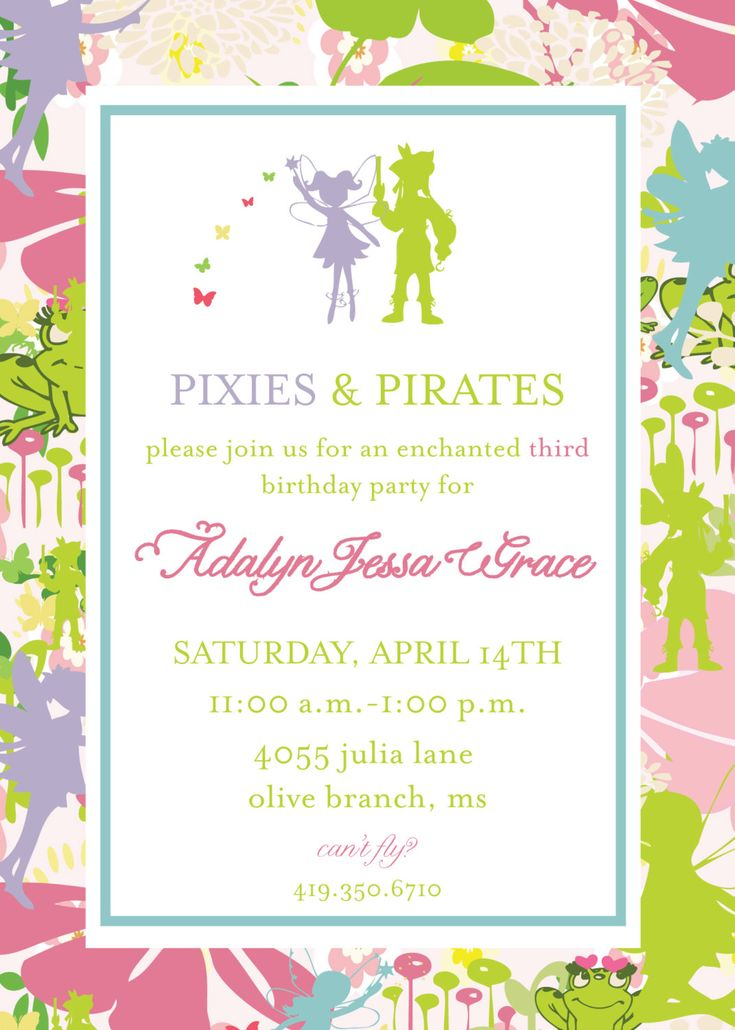 Pixie and Pirate Invitation- Tinkerbell. $16.00, via Etsy. Would be a fun theme for the twins birthday in a few years