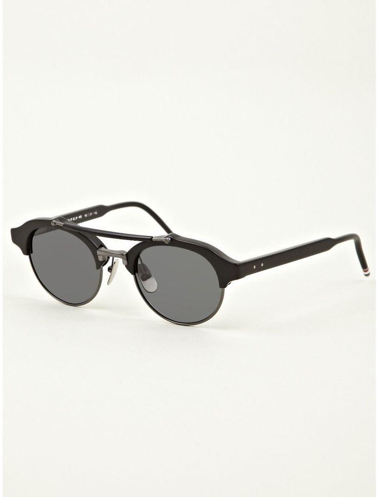 Thom Browne Men's TB-700 Matte Black Sunglasses | oki-ni