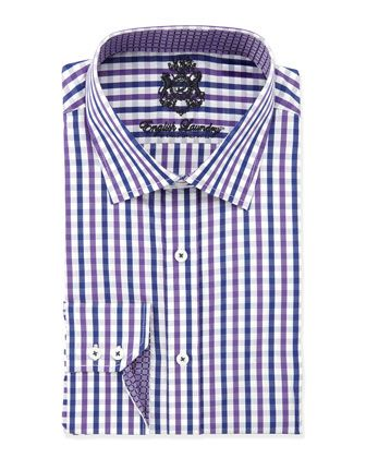 Popular Classic Fit Large Plaid Dress Shirt Lavender by