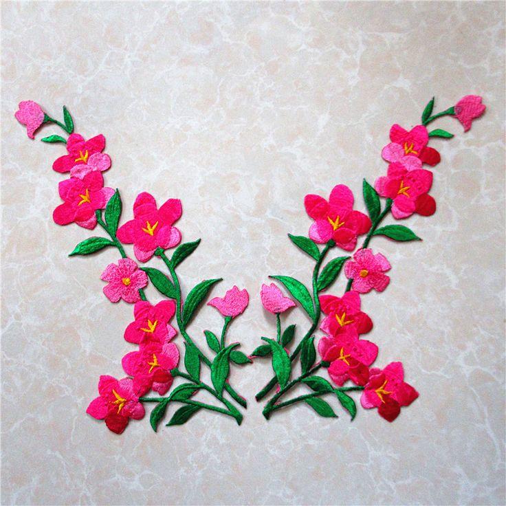 Бесплатная доставка 1 пара одежда вышивка цветок патч вышитые горячего патчи наклейки одежды аппликации поделки аксессуар A162