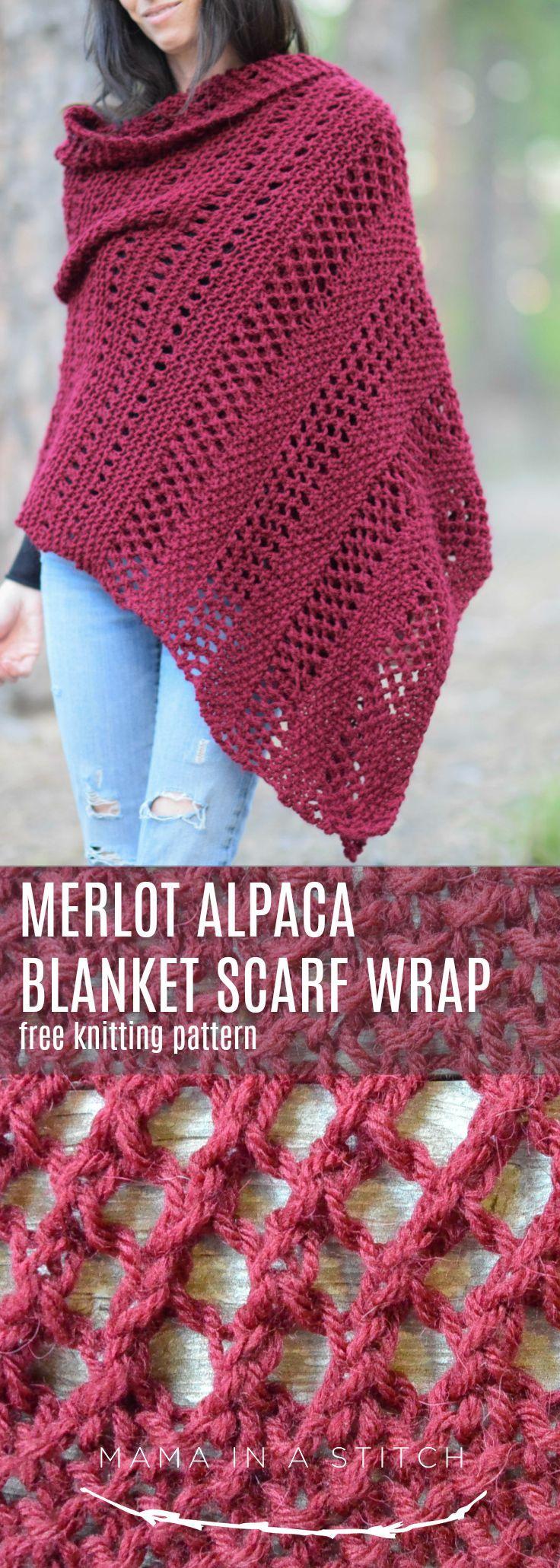 Merlot Alpaca Wrap Shawl Knitting Pattern via Mama In A Stitch Knit and Crochet …