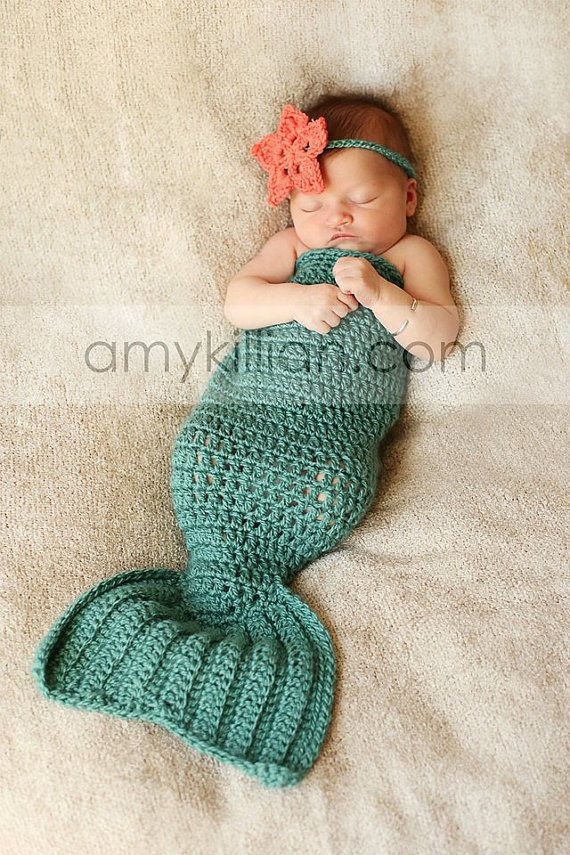 Newborn Baby Girl Crochet Mermaid Photography Photo Prop Outfit - handmade