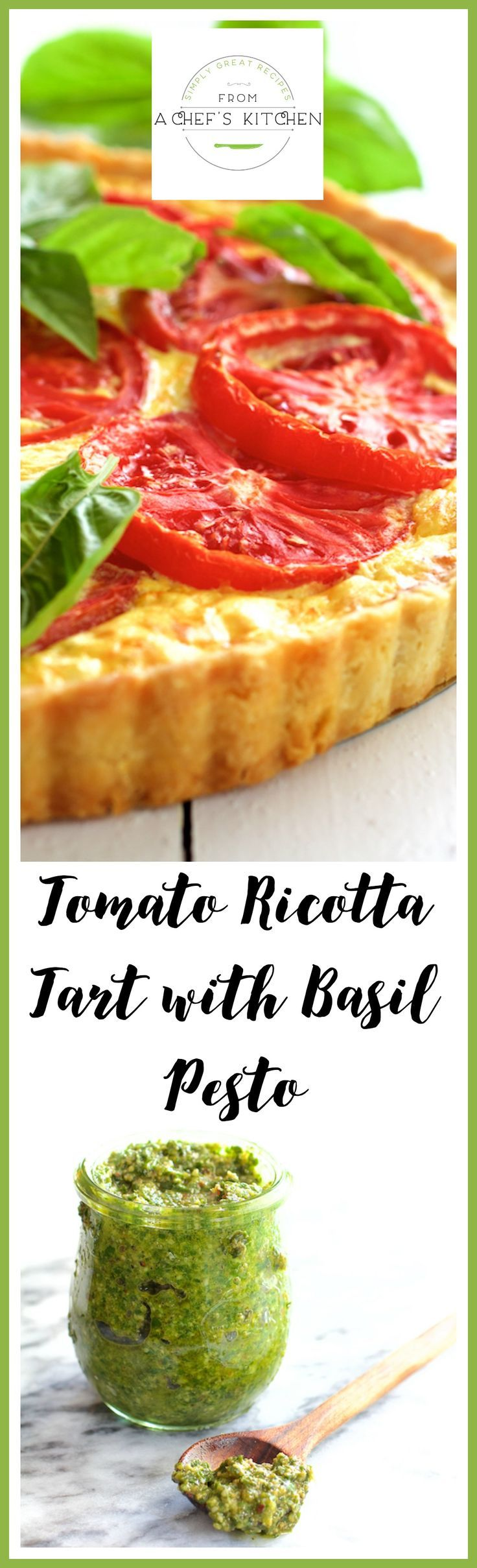 This savory Tomato Ricotta Tart with Basil Pesto is a delicious way to enjoy those tantalizing summer tomatoes and fresh basil before they're gone!