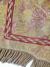 antique victorian VALANCE CURTAIN TAPESTRY JACQUARD fringe curtain grape vine HV