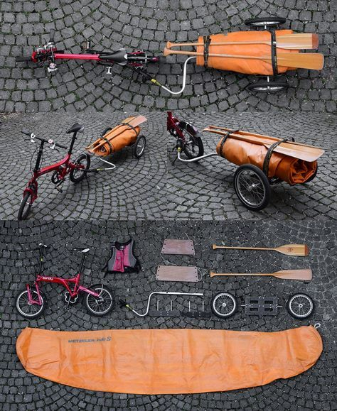 Amphibious biking - folding boat with folding bike and folding trailer