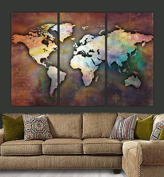 Three-piece panel World Map on Gallery Wrapped Canvas is very unique piece. Vintage, earth-toned distressed look with colorful but subtle hues