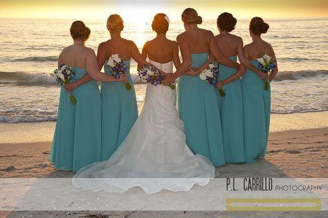 A Sunset Beach Wedding • Bridesmaids Pose. P.L. Carrillo Photography