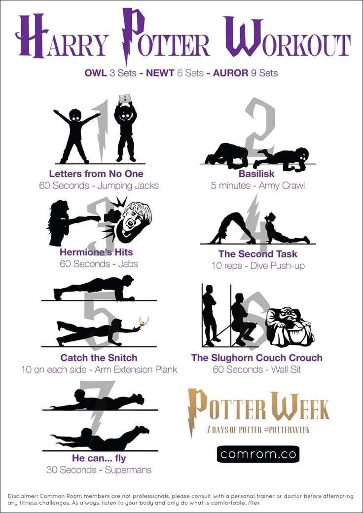 For WorkoutWednesday and Potterweek --> 7 Magical Moves: Harry Potter Workout Sheet. Swish and Flex!