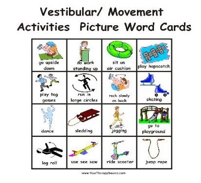 Picture word cards for vestibular and movement activities - from Cut and Paste Sensory Diet - Re-pinned by @PediaStaff – Please Visit http://ht.ly/63sNt for all our pediatric therapy pins