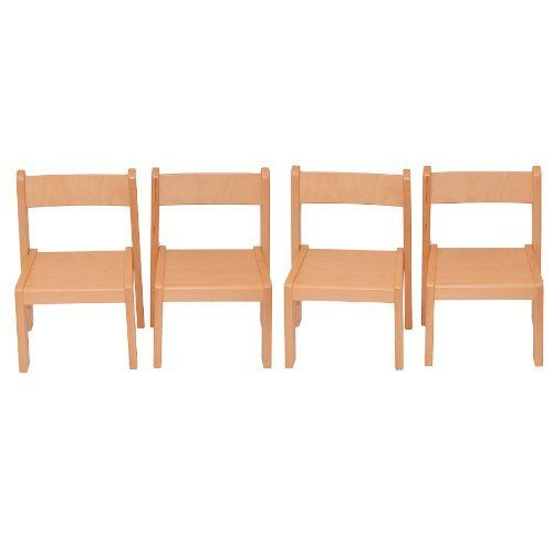 Childrens Furniture Solid Beech Wood Set Of Four Childrenu0027s Chairs Without  Arm Rests Natural Varnish By