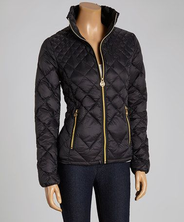 Another great find on #zulily! Black Packable Down Zip-Up Puffer Jacket - Women by Michael Kors #zulilyfinds