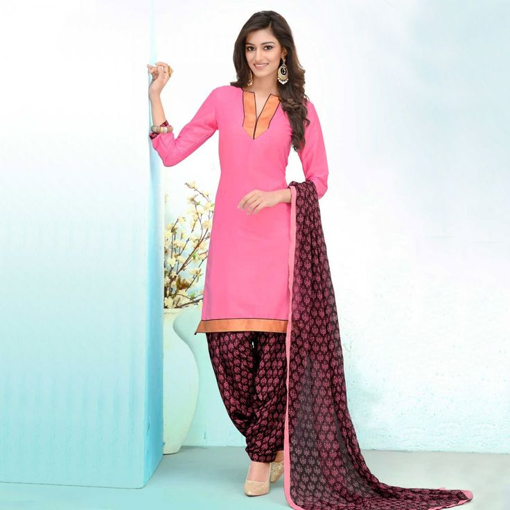 Buy Pink - Black Cotton Patiala Suit for womens online India, Best Prices, Reviews - Peachmode