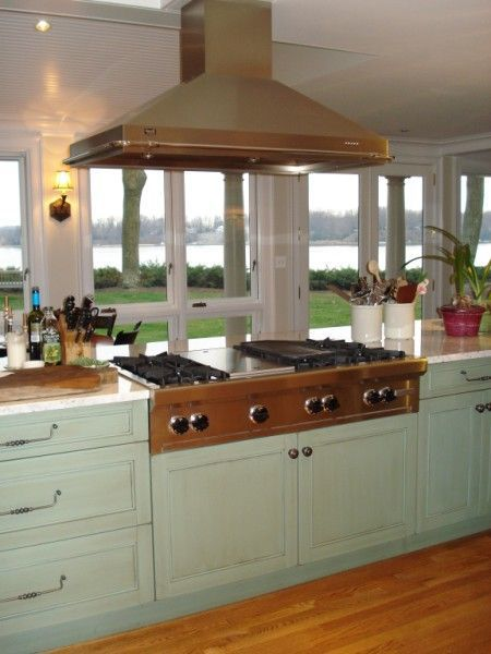 island cooktop | Island Hood over Wolf Range Top