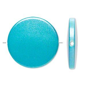 Beads: :: Acrylic , Plastic: :: Rubberized and Pearlized Coating: :: Bead, acrylic, pearlized blue, 32mm flat round. 20pcs - BEST Beading Supplies - Tools, Stringing, Beads, Bulk Buys, Sydney Retail Shop